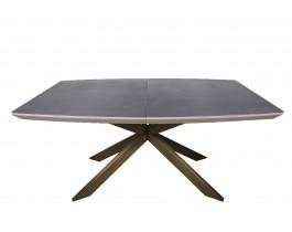 Стол обеденный PORTLAND стеклокерамика мокко-баклажан, ноги олово